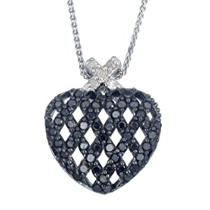 Sterling Silver Black Diamond Pendant (0.85 CT) With 18