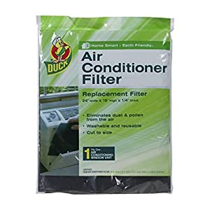 Duck Brand 1285234 Replacement Air Conditioner Foam Filter, 24-Inch by 15-Inch by 1/4-Inch, 1-Pack