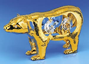 POLAR BEAR Gold Swarovski Crystal Figure Ornament