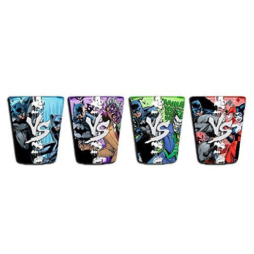 DC Comics BN031SG9 4 Piece Silver Buffalo Batman vs Villains Colored Mini Glass Set, 1 oz, Multicolored