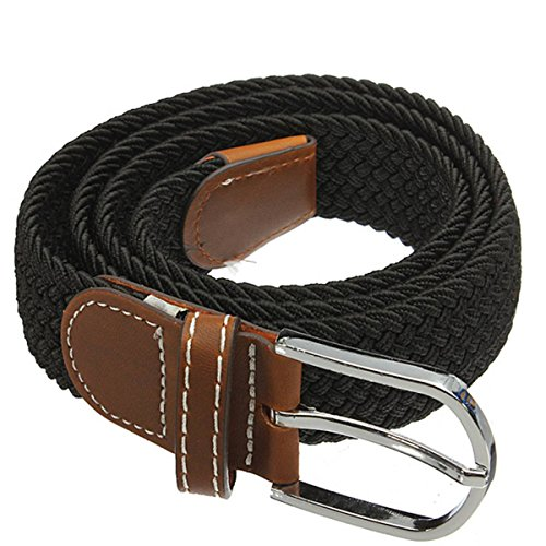 PODOM Mens Elastic Stretch Cross Buckle Casual Braided Canvas Leather Waistband Belt Black One Size