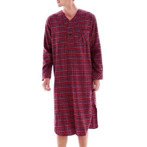 Nick & Nora ladies sleep shirt. % cotton flannel night shirt in red with sock monkeys and snowflakes all over. Long sleeves and side pockets.