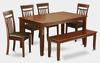 6-Pc Dining Set with Wooden Bench