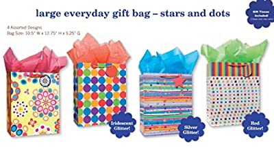 Birthday Party Gift Bags Set of 4 Large Gift Bags W/ Glitter, Tags, Stars, Stripes and Spots Design, and Tissue Paper for Kids, Girls, Boys, Women, Men