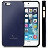 Caseology Apple iPhone 5 / 5S [Saffiano Hybrid Series] - Premium Matte Leather Shock Absorbent TPU Bumper Case (Navy Blue) [Made in Korea] (for Verizon, AT&T Sprint, T-mobile, Unlocked)
