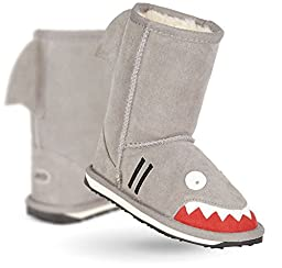 EMU Australia Little Creatures Shark Boot (Toddler/Little Kid/Big Kid),Putty/Mastic,10 M US Toddler