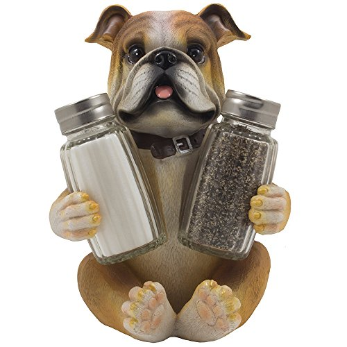 Bulldog Salt & Pepper Shaker Set Statuette with Decorative Spice Rack Display Stand Holder Puppy Dog Figurine in Puppy and Canine Kitchen Decor or Restaurant Bar Table Decorations As Housewarming Gifts for Pet Lovers (Bulldog Presents compare prices)