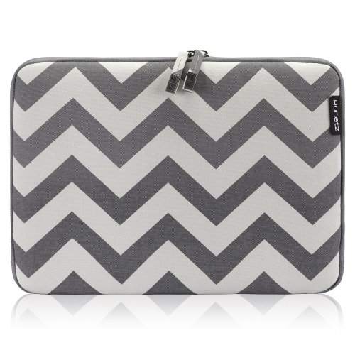 """Runetz - 11-Inch Chevron Gray Soft Sleeve Case Cover For Macbook Air 11.6"""" And Samsung Chromebook 11"""" Laptop - Chevron Gray front-293348"""