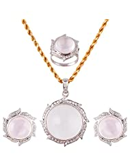 Mariya Impex Classic Collection Silver Pendant Necklace Set For Women - B00YHWMR9O