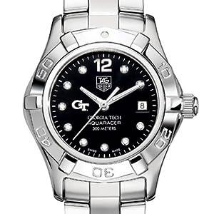 Georgia Tech TAG Heuer Watch - Ladies Aquaracer with Black Diamond Dial by TAG Heuer