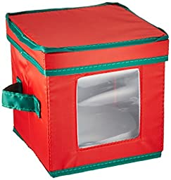 Household Essentials Holiday Dinnerware Storage Chest for Saucers, Red with Green Trim by Household Essentials