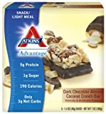 Atkins Advantage Dark Chocolate Almond Coconut Crunch, 5-count Box