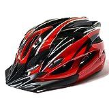 【AHKAH WORKS】男女兼用 軽量 自転車用 ヘルメット サングラス付 サイズ調整可 (ブラック×レッド)