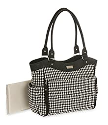 Carter\'s Drop Front Houndstooth Tote Diaper Bag, Black/White