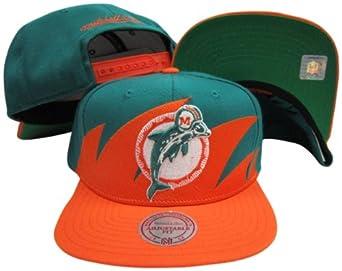 Miami Dolphins Mitchell & Ness Snapback Adjustable Plastic Snap Back Hat Cap by Mitchell & Ness