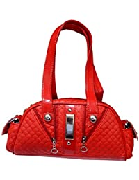 Navaksha Hot Red Color Self Designed Hand Bag