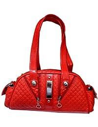 Navaksha Hot Red Color Self Designed Hand Bag
