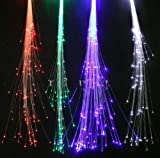 6-pack Light-up Fiber Optic Led Hair Lights (14 Strands) - Multicolor Flashing Barette - Rainbow Colors (Alternating Multicolors) - Rave Party Hair Accessories