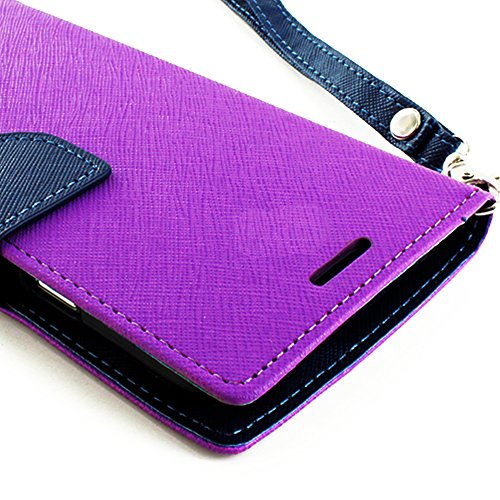 Mylife Violet Purple And Navy Blue {Classic Design} Faux Leather (Card, Cash And Id Holder + Magnetic Closing) Slim Wallet For The All-New Htc One M8 Android Smartphone - Aka, 2Nd Gen Htc One (External Textured Synthetic Leather With Magnetic Clip + Inter