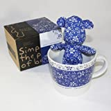 SYNC - [Flower Blue] Stuffed Bear Mug (3.3 inch height)