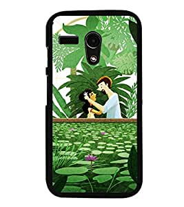 Fuson Premium 2D Back Case Cover Cute couple With Multi Background Degined For Motoroal Moto G Turbo Edition