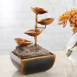 Four Raised Copper-Finished Bowls, Sacco Tabletop Fountain