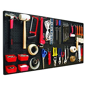 Click to read our review of Garage Pegboard: The Bulldog Hardware 131588 Peg-A-System Ultimate Kit