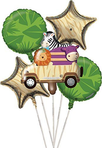 Creative Converting 5 Piece Safari Adventure Metallic Balloon Cluster, Multicolor