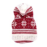 Urparcel Pet Dog Snowflake Print Winter Coat Puppy Clothes Coral Fleece Hoodie Jacket Red M