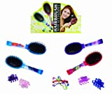Hairbrush with Hair Bands in Handle with Blue Bands - Girl, Girls, Child, Kids Popular, Best, Top Selling Stocking Filler Ideas Toys, Games