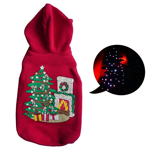 Christmas Tree Led Light Up Pet Dog Sweater Puppy Warm Hooded Coat Clothes Costume Apparel, Red, Xs, S, M, L
