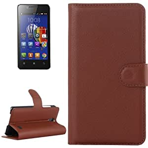 Litchi Texture Flip Leather Case with Holder & Card Slots & Wallet for Lenovo A319 (Brown)