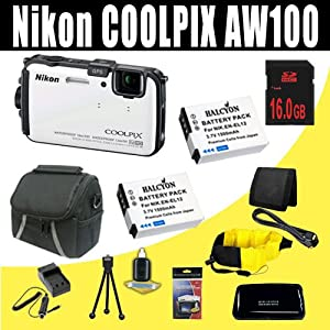 Nikon COOLPIX AW100 16 MP CMOS Waterproof Digital Camera with GPS and Full HD 1080p Video (White) Two 1500 mAh EN-EL12 Replacement Lithium Ion Battery + External Rapid Charger + 16GB SDHC Class 10 Memory Card + Mini HDMI Cable + Carrying Case + Waterproof Floating Strap + SDHC Card USB Reader + Memory Card Wallet + Deluxe Starter Kit Bundle DavisMAX Accessory Kit