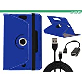 Jkobi Combo Of Tablet Book Flip Flap Case Cover With OTG Cable & Micro USB Data Cable Compatible For Samsung Galaxy Tab 4 T231 -Blue