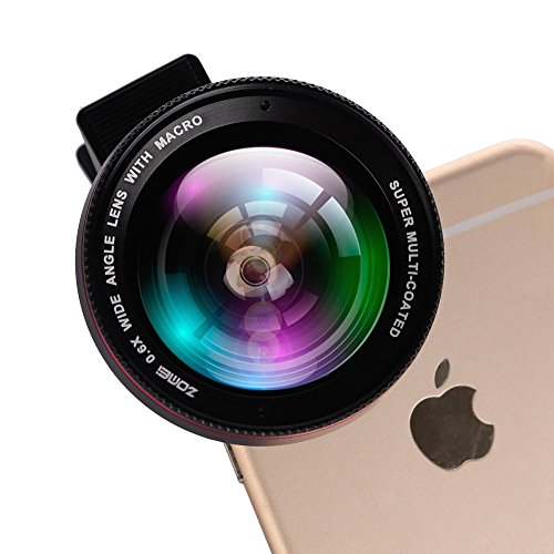 Zomei-Professional-2-in-1-Clip-On-HD-Camera-Lens-06x-Wide-Angle-Lens-125x-Macro-Lens-for-iPhone-6-6S-Plus-5-5S-Clippable-Wide-Angle-Micro-Lens-for-Samsung-Sony-Other-Android-Smartphones