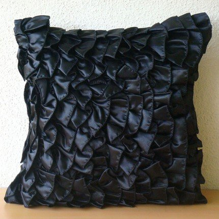 Vintage Black - 16X16 Inches Square Decorative Throw Black Satin Pillow Covers With Satin Ruffles front-496243