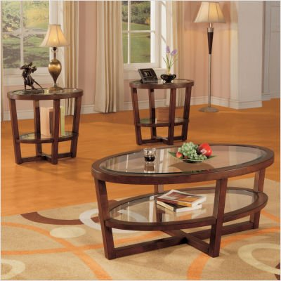 cheap round glass coffee table opus 3 piece occasional table set in cherry. Black Bedroom Furniture Sets. Home Design Ideas