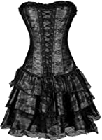 TDOLAH Women Corset Sexy Gothic Boned Dress Bustier Clubwear 7 Colours