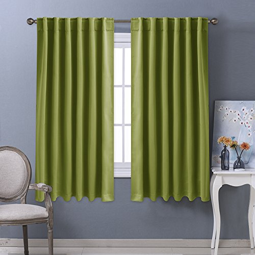 Nicetown Blackout Room Darkening Curtains / Drapes - Grass Green 2 Panels Set W52