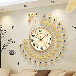 Luxury Diamond Peacock Large Wall Clocks Metal Living Room Wall Watch Home D?cor