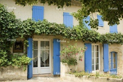 "Wallmonkeys Peel and Stick Wall Graphic - French House with Window Shutters Provence France - 24""W x 16""H"