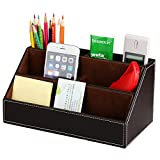 HOMETEK? 5 Compartment Desk Organizer Pen Pencil Caddy Desktop Organizer Media/Card/Remote Control Holder Organizer PU Leather Office Supplies (Brown)