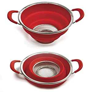 Norpro Grip-EZ Red Silicone Knockdown Colander with Handles