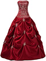 Hot Sale Faironly Apple Red Satin Strapless Prom Gown Rb4 (XXL)