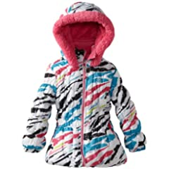 Big Chill Toddler Girls 2-6X White Zebra Printed Puffer Jacket/Coat