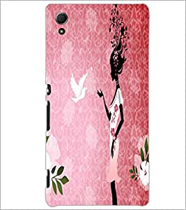 PrintDhaba Girl with Pigeon D-5578 Back Case Cover for SONY XPERIA Z4 (Multi-Coloured)