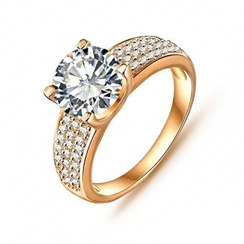Alimab Gioielli signore anelli Donne anelli fidanzamento amore anelli oro anelli bianco rotondo placcato oro 10