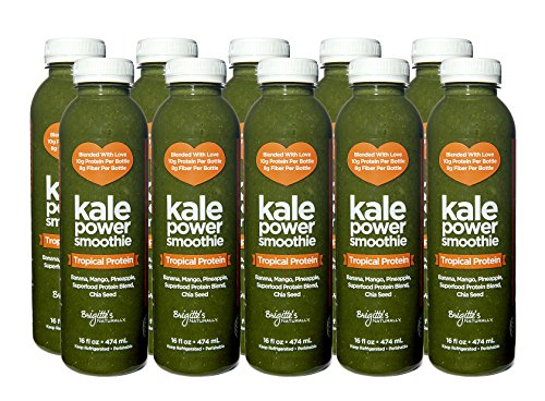 Brigitte's Naturally Kale Power 5-Day Cleanse, ORGANIC Tropical Fruit and Kale with EXTRA PROTEIN Green Smoothies, 10 Count (+Protein Flavor)