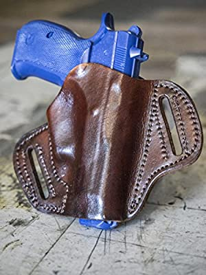 OUTBAGS LOB2P-CZ75C Brown Genuine Leather OWB Open Carry Pancake, Side Carry Belt Holster for CZ-USA CZ75 Compact 9mm. Handcrafted in USA.
