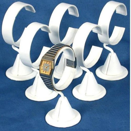 6 White Leather Wrist Watch Jewelry Showcase Displays